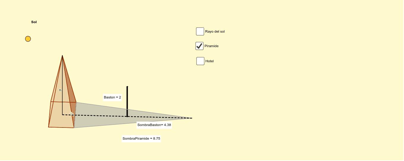 A una cierta hora del día el sol proyecta una sombra que coincide con la cúspide de la pirámide y la parte superior del bastón,como se muestra a continuación.