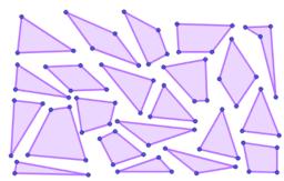 Farv trekanter og firkanter.