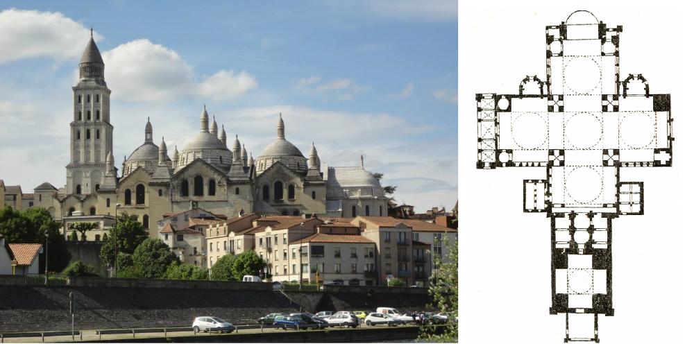 exterieur en plan van de kathedraal van Périgueux (vanaf 1120)