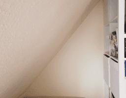 Ein dreieckiges Bücherregal in einer Dachwohnung