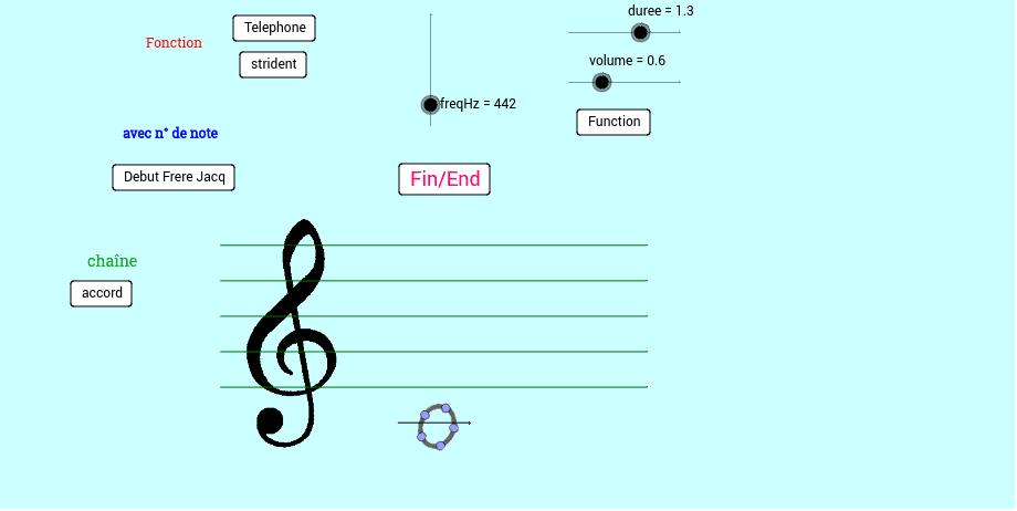 "Function : ok but Music sound only with GeoGebra  Classic 5 : https://www.geogebra.org/download Tapez ""Entrée"" pour démarrer l'activité"