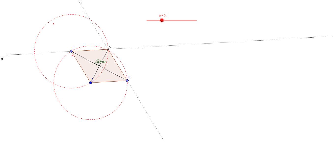 Trekk i glider a for å endre lengden på sidene. Trekk i hjørnene B eller D for å endre vinkler og retning.