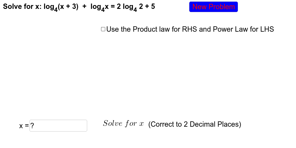 This practice will use all three laws of logarithms. Practice as many times as you like to better your understanding. Press Enter to start activity