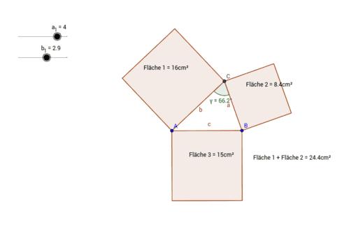 satz des pythagoras entdeckungen am rechtwinkligen dreieck geogebra. Black Bedroom Furniture Sets. Home Design Ideas