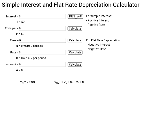 simple interest and flat rate depreciation calculator vce geogebra