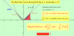 Area bounded by curves y = |x| and y = x^2