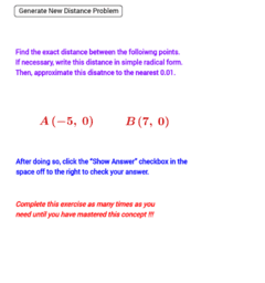 Distance in the Coordinate Plane (Quiz without Grid)