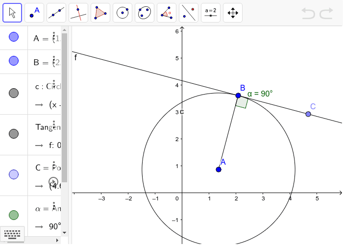 Line f is a tangent line to circle A. Play with points A, B and C.