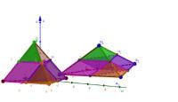Opdeling, to lige høje pyramider - Euklid XII-4