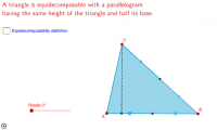 Triangle equidecomposable with a parallelogram (2)