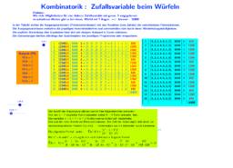 Kombinatorik, Zufallsvariable beim Würfeln