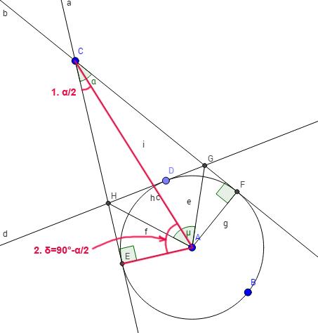 Laut der Lösung µ=90°-α/2. Aber δ ist auch gleich 90°-α/2. Es heisst µ=δ. Aber ich kann es nicht beweissen:-(