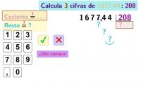 Divide con decimales por tres cifras