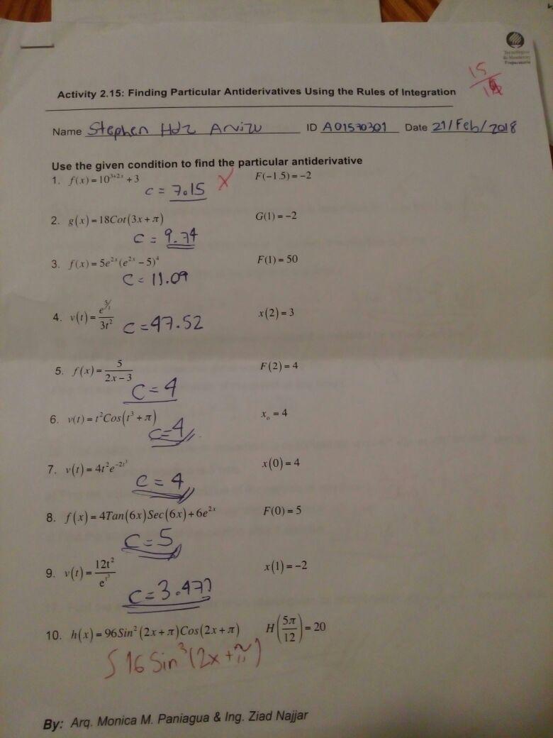 Esta actividad la agarre porque las integrales empezaban a ser mas complejas.