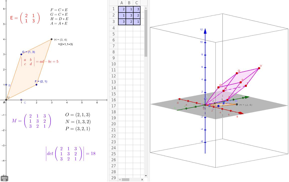3次の行列式の絶対値は平行四面体の体積を表しています。面白いですね。 ワークシートを始めるにはEnter キーを押してください。