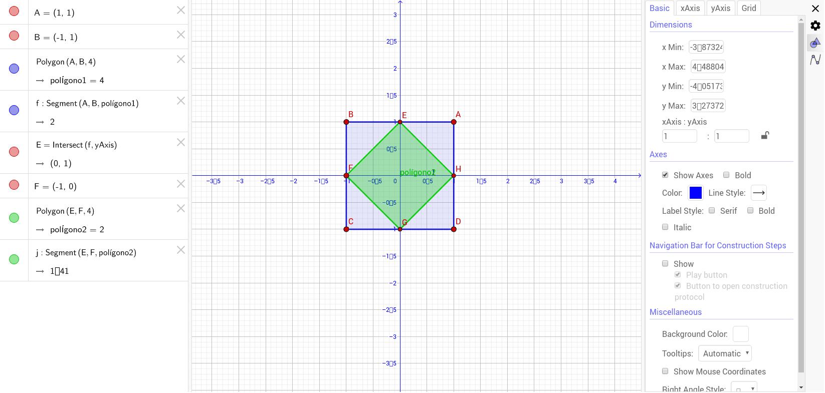 Dado el cuadrado ABCD, multiplicamos cada uno de sus vértices por un determinado número complejo, obteniéndose el cuadrado EFGH. ¿Cuál ha sido dicho número?