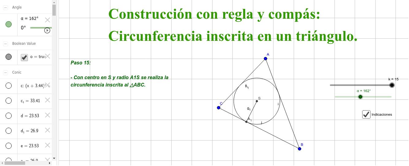 Circunferencia inscrita en un triángulo Presiona Intro para comenzar la actividad
