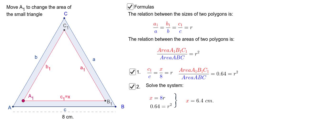 64% der gesamten Fläche des grossen Dreiecks sind schraffiert. Je eine Seite des grossen und es kleinen Dreiecks sind parallel. Wie gross ist x? Press Enter to start activity