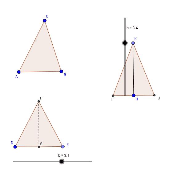 Trasforma un triangolo in un triangolo isoscele equivalente di data base o di data altezza.
