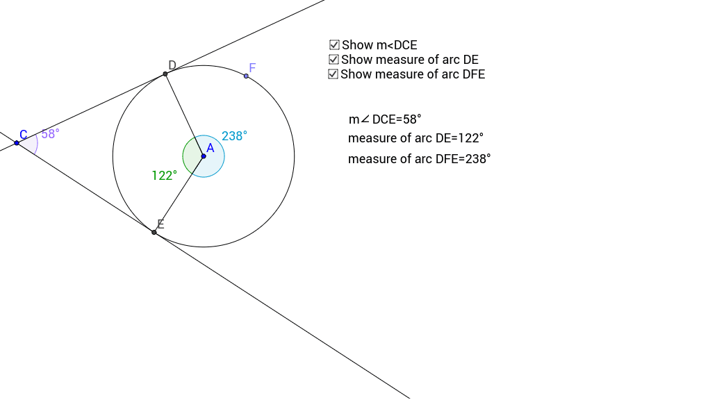 Angle Finder App >> Angle Created By Two Tangents Geogebra
