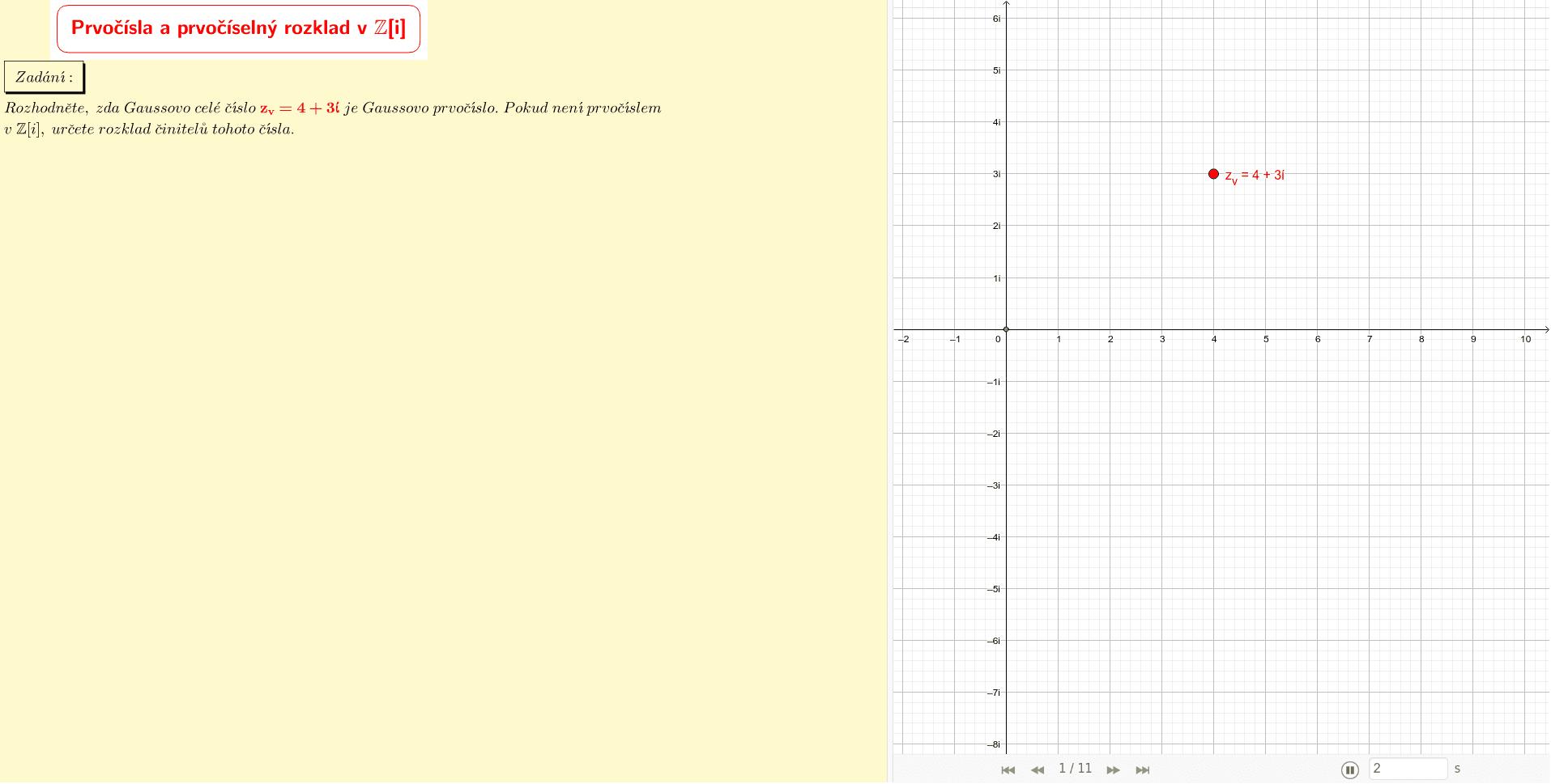 Gaussovo celé číslo z=4+3i v komplexní rovině