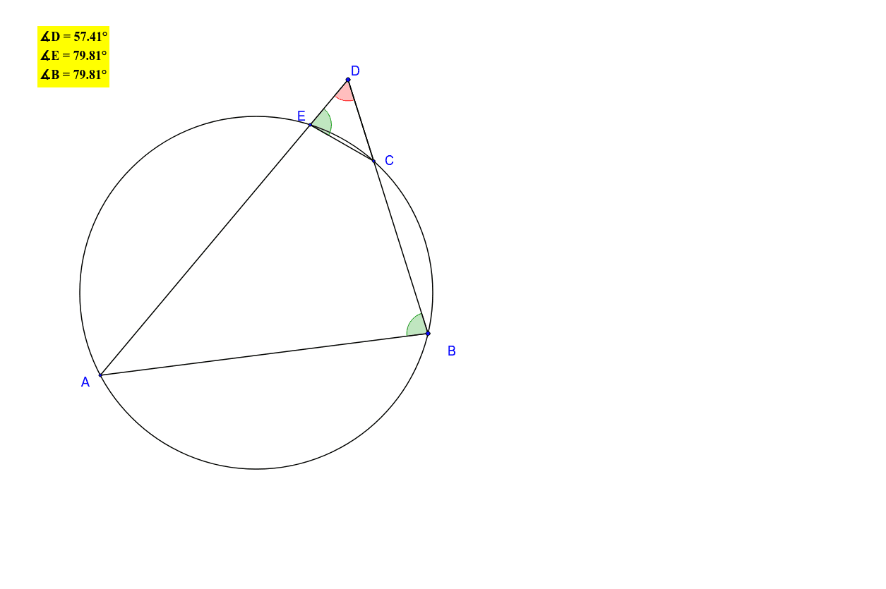 While dragging the triangle's vertices, one can see that angles B and E are equal and then the triangles DAB and DCE are similar.