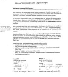 Lineare Gleichungen und Ungleichungen