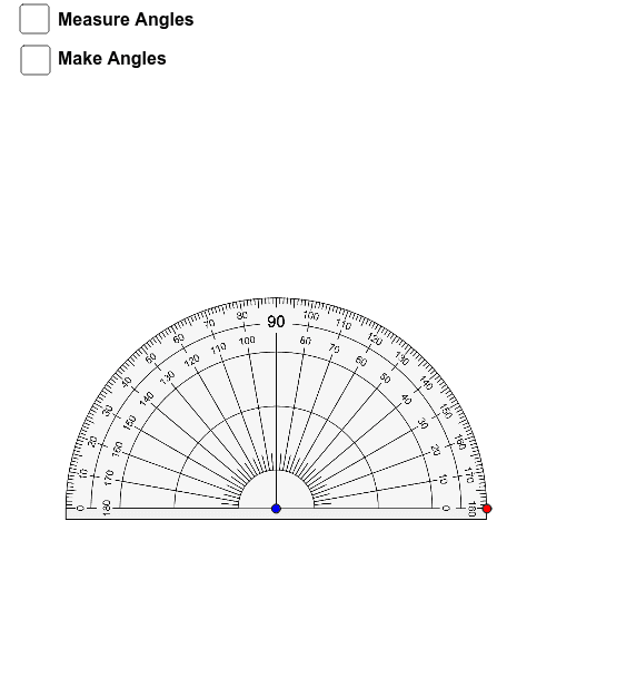 Drag the blue point to move the protractor and the red point to rotate. Press Enter to start activity
