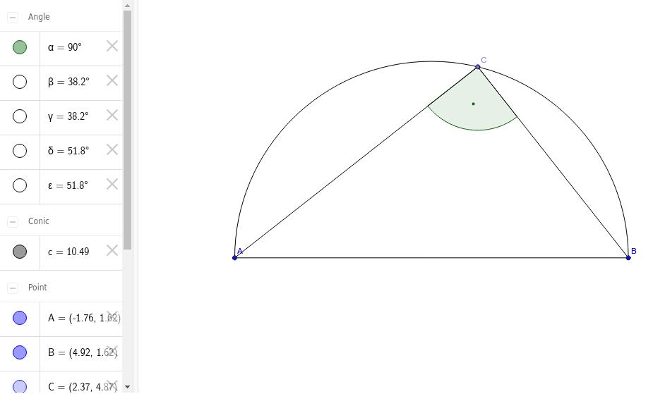 Versuche durch Einblenden weiterer Elemente bei GEOGEBRA zu begründen, warum bei C ein rechter Winkel vorliegt.