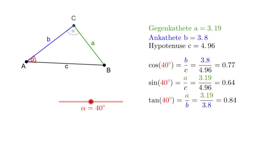 Die Punkte A und B können verschoben werden. Man beachte, dass die Seitenverhältnisse lediglich vom Winkel α abhängen. Press Enter to start activity