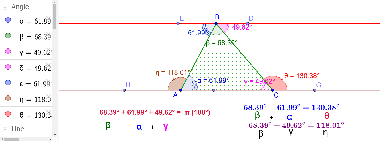 Move the Points A,B,C and the angles change but relation among angles remain unchanged.