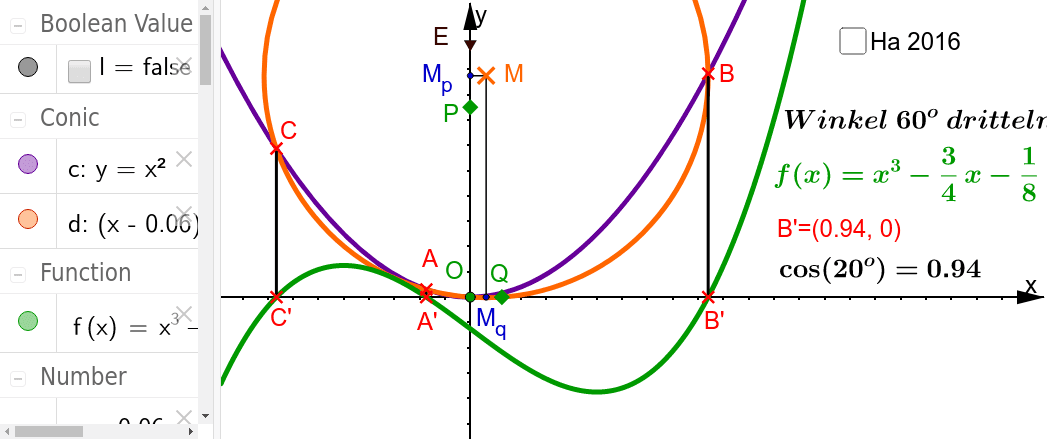 Quasikonstruktion= Konstruktion mit Parabellineal, Zirkel und Lineal