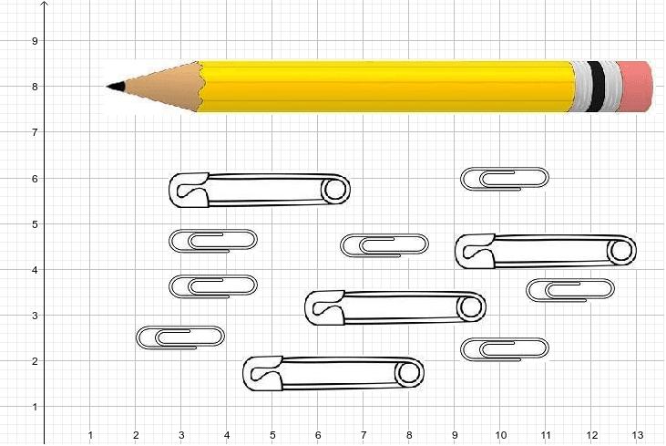 Utiliza los objetos para medir el lápiz.  Toca y sostén el objeto para moverlo