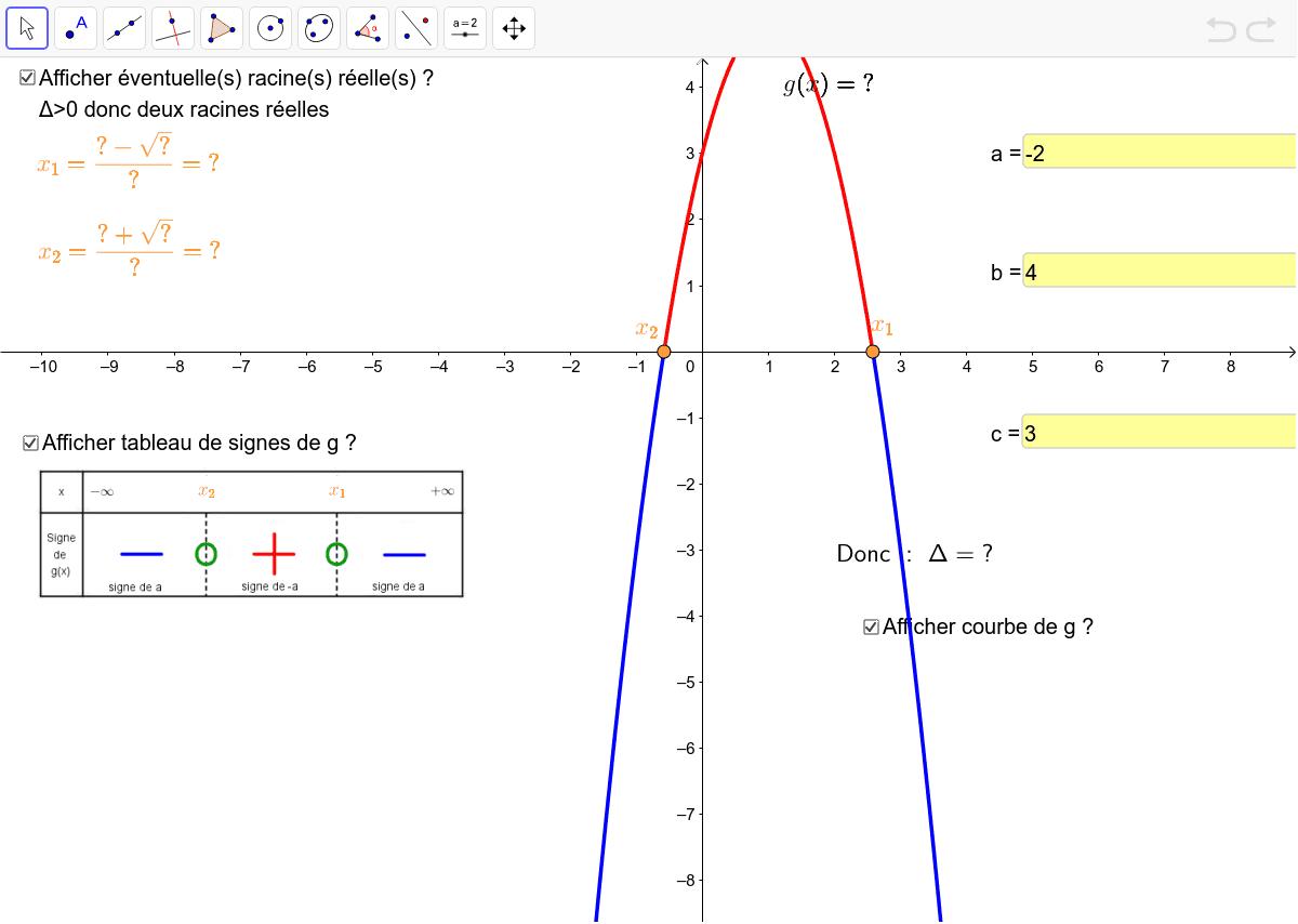 entrer les valeurs de a, b et c