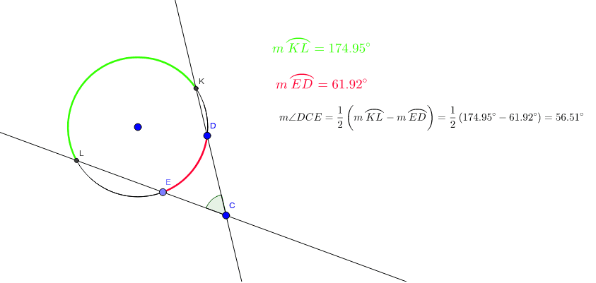 Move the blue points to investigate how the relationship between the measure of an angle with its vertex outside a circle and its intercepted arcs. Press Enter to start activity