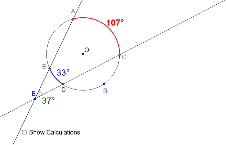 Secant Lines Intersecting a Circle - Arcs and Angles – GeoGebra