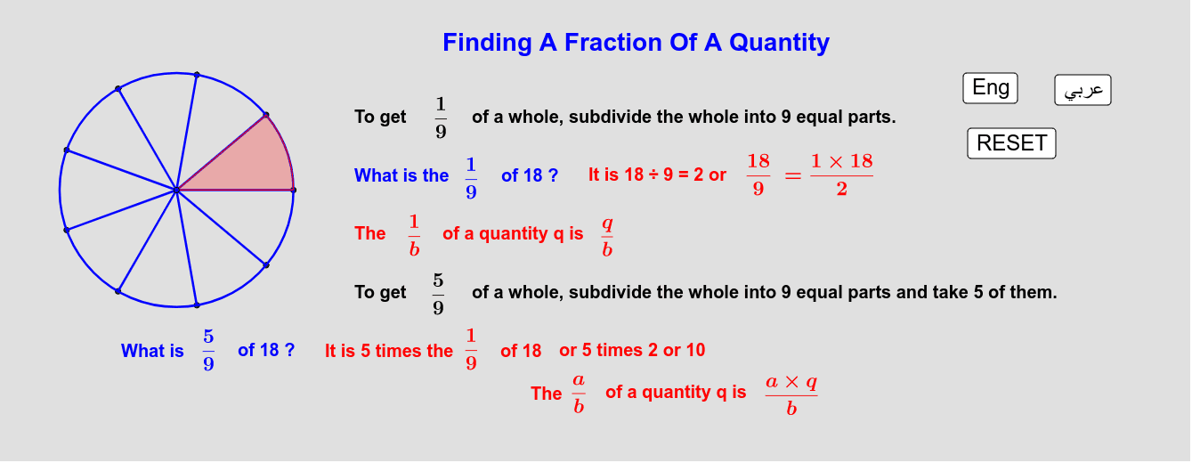 Fraction Of A Quantity       كسر الكمية Press Enter to start activity