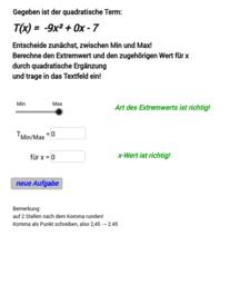 Quadratische Ergänzung - Zufallsgenerator