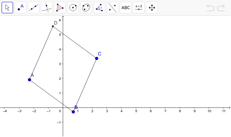 Explore the properties of a parallelogram by measuring features and then dragging A, B, or C