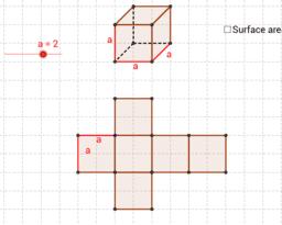 surface area of a cube / Oberfläche eines Würfels