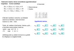Cramer-szabály (3 ismeretlen)