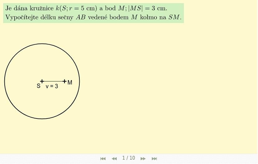 Příklad 2 - bod M je uvnitř kružnice