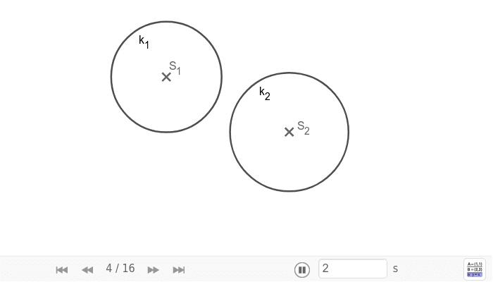 Konstrukce chordály dvou kružnic