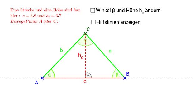 Ist ein Dreieck eindeutig festgelegt, wenn eine Streckenlänge und eine Höhe vorgegeben ist?  Drücke die Eingabetaste um die Aktivität zu starten