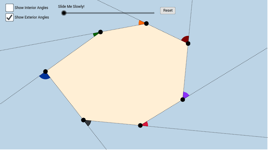 Exterior and Interior Angles of a Heptagon Press Enter to start activity