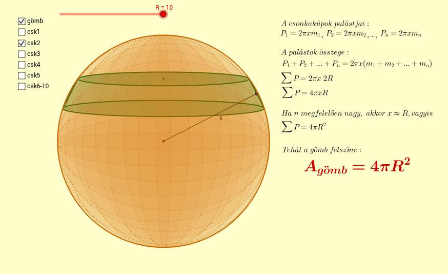 A gömb felszíne (Surface area of a sphere)