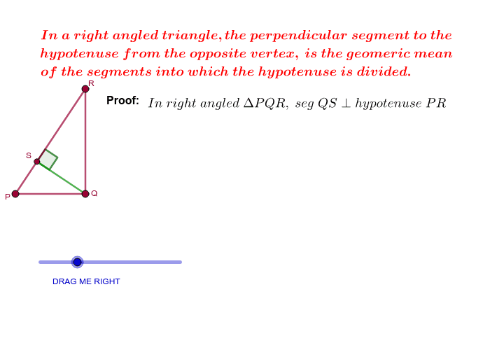 Theoram of Geometric Mean Press Enter to start activity