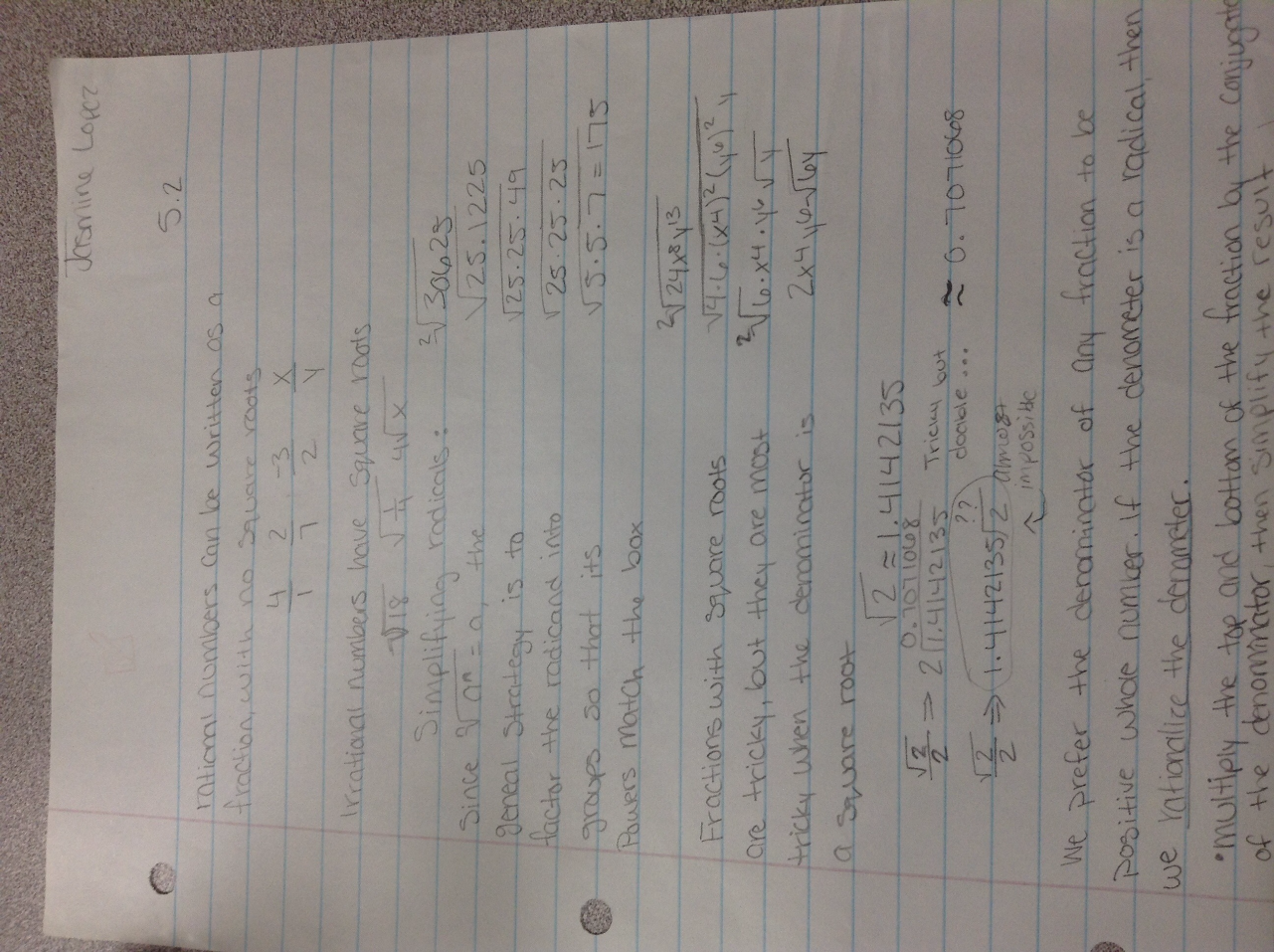 5.2 notes, simplifying radicals