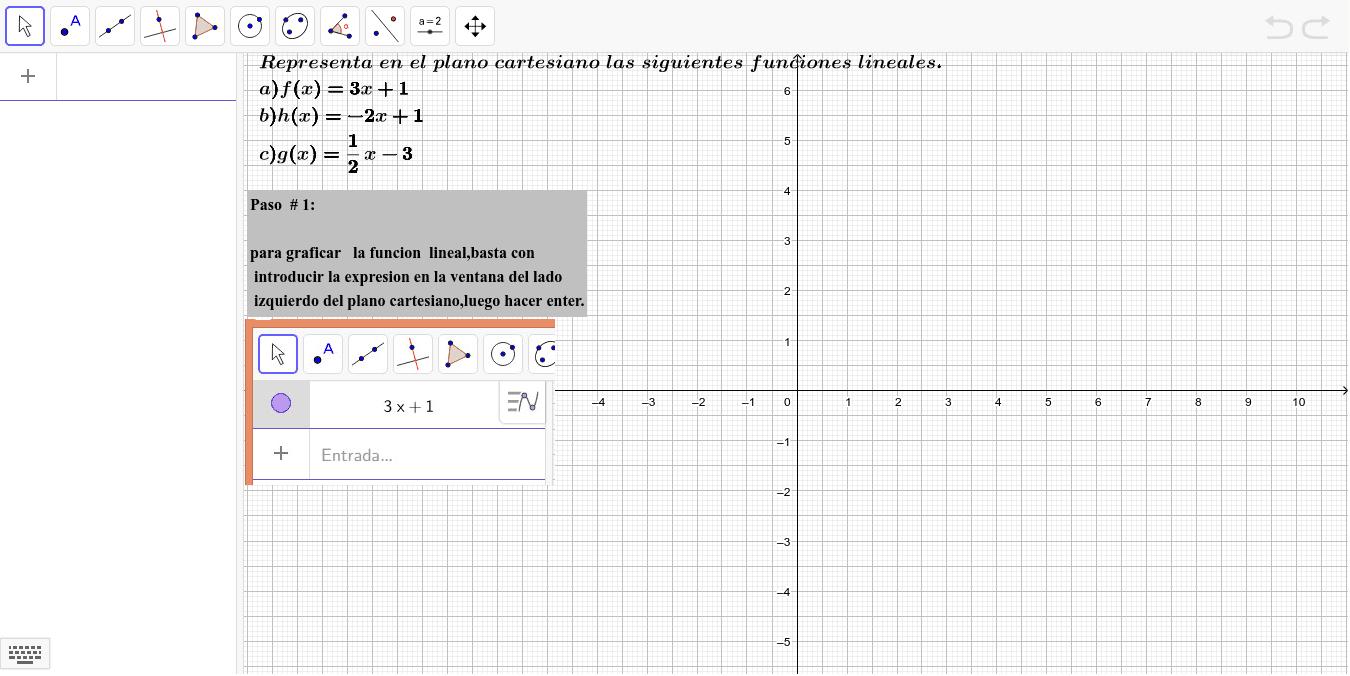 Representación de funciones lineales en geogebra Press Enter to start activity