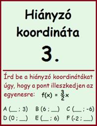 lineáris függvény - hiányzó koordináta 3.